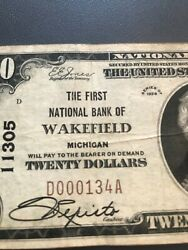 Wakefield Michigan 1929 T1 20 First National Bank Vf