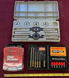 Lot Of Tool Kits Craftsman Tap And Die Professional Drill Attachments Bandd Blades