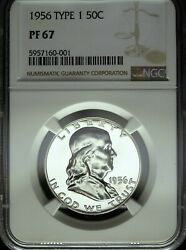 1956 Ngc Proof 67 Type 1 Franklin Silver Half Dollar ☆☆ Great For Sets ☆☆ 001