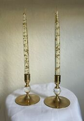 Valerio Albarello Candle Holders Crystal Set And Lucite Acrylic Candles