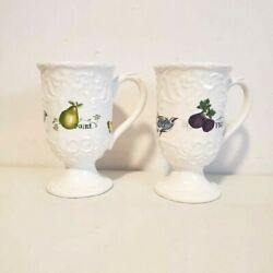 Mikasa Antique Countryside Pear And Fig Butterfly Footed Pedestal Scroll Mugs