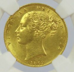 1869 Gold Great Britain Victoria Young Head Shield Sovereign Ngc Mint State 62