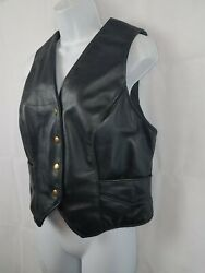 Genuine S And S Cycle Custom Womenandrsquos Leather Vest Black Sz 9/10 Made In Usa Snap