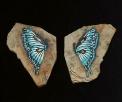 Hagen Renaker Pottery Pair Of Butterfly Faux Rock Wall Hanging Plaques Mcm Exc