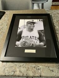 Roberto Clemente Beautifully Framed Photo And Signature