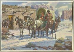 Vintage Christmas Indian Trading Post Horses Carriage Women Donkey Snow Art Card
