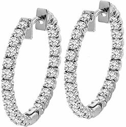 2.50ct Natural Round In And Outside Diamond I-jsi1 Hoop Earring 14k White Gold