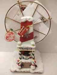 Christmas Wind Up White Musical Ferris Wheel Rotates Figurines In Snow Globes
