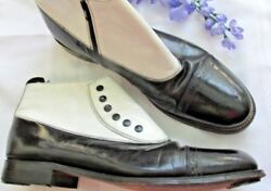Mens Vintage Designer Stacy Adams Black And White Leather 2 Tone Boots Shoes 10 D