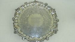 Vintage Sterling Silver 10 Plate Circa 1850 From Ship Waterloo To Capt. Harvey