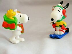 2 Vintage Snoopy And Woodstock, Christmas Ornaments, Peanuts