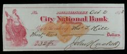 1875 City National Bank Poughkeepie N Y 32 Cashed Check