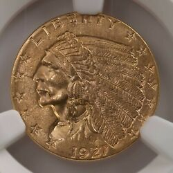 1927 Indian 2.50 Ngc Certified Ms62 Mint State Graded Us Gold Coin