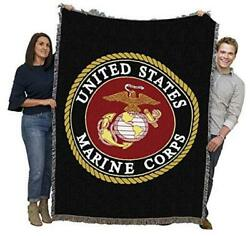 Us Marine Corps - Emblem - Cotton Woven Blanket Throw - Made Large Multicolor
