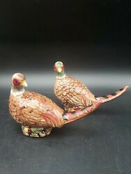Ceramic Pheasant Salt And Pepper Shakers With Stoppers 5 X 3 X 1