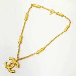 Coco Mark Chain Necklace Gp Gold 94 Vintage Engraved Ladies' Accessories