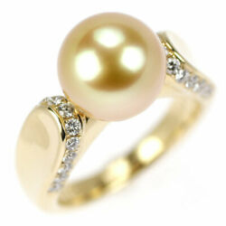 K18yg Golden Pearl/pearl Diamond Ring Diameter About 10.1mm D0.36ct - Auth Selb