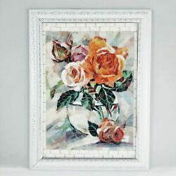 Handmade Mosaic Stained Glass Picture Wall Art Home Decor Interior Roses Flowers
