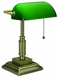 V-light With Replaceable Led Green Shade Bankerand039s Lamp Antique Brass 8vs68802...