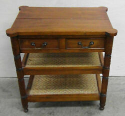 Antique Country French Side Table With Rattan 18th Century