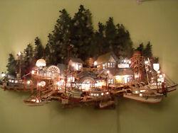 Fishing Boat Dock Light Up Village  Strong Metal Wall Sculpture