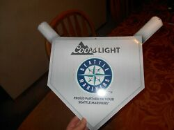 Coors Light Beer Promotional Seattle Mariners Logo Home Plate Baseball Tin Sign