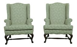 53178ec Pair Hickory Chair Co Queen Anne Mahogany Wing Chairs