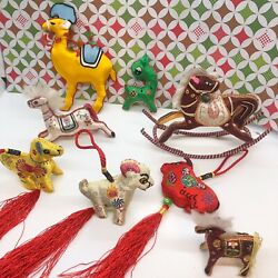 Vintage India Satin Silk Rocking Horse Embroidered Christmas Ornaments