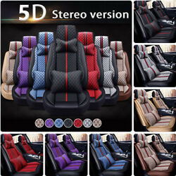 Universal Car Seat Cover Non-slip Pu Leather 5-sit Frontandrear Full Protector Set