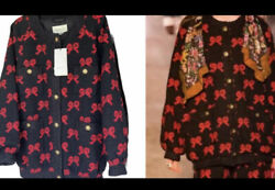 4600 Nwt Black-red Bows,cotton-blend,tweed Oversize Bomber Jacket,size 40