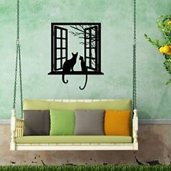 BIBITIME Tree Branch Fake Window Black Cats Wall Art Stickers for Bedroom Living