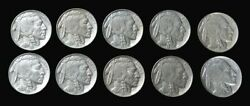 10 1936 United States Buffalo Nickel Coin Dealer Lot Au And Better