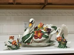 Fitz And Floyd Tulip Swan 1995 Tureen W/ladle, Platter, 2 Candle Holders