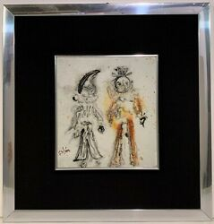 1970s FRENCH MODERN PAINTING Abstract Figures ILLEGIBLY SIGNED Unknown Artist