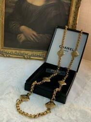 Vintage Coco Mark Long Necklace Diamond-plated Gold 90 Cm Engraved 2002
