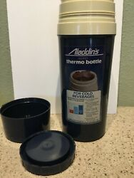 Vintage 1986 Aladdin's 1 Qt. Thermo Bottle Thermos Wide Mouth Blue New Old Stock