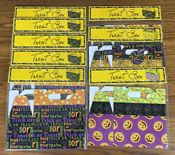 Lot Of 8 Halloween Treat Boxes Pumpkins Candy Corn Spider Webs Trick Or Candy