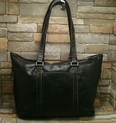 Jack Georges Voyager Zip Top Tote Black Soft Leather Laptop Women#x27;s Office Bag $89.00