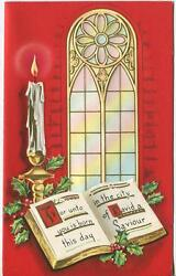 Vintage Christmas Church Window Holly Red White Candle Illuminated Gold Art Card