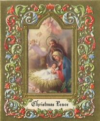 Vintage Christmas Gold Angels Embossed Christ Nativity Viecchi Art Greeting Card