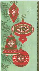 Vintage Christmas Red Gold White Gold Ornaments Tree Mid Century Greeting Card