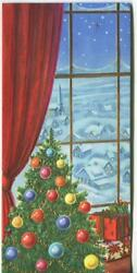 Vintage Christmas Red Drapes Tree Ornaments Gold Blue Village Mcm Greeting Card