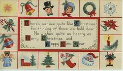 Vintage Christmas Angel Candy Cane Santa Candle Wreath Tree House Greeting Card