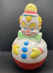 Vintage 1977 Sanitoy Wobble Clown Baby Toy Bell Sound