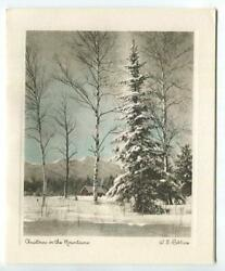 Vintage Christmas Hand Colored Photo Print Mountains W S Robbins Greeting Card