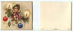 Vintage Christmas Angel Sitting In Pine Tree Ornaments Candles Greeting Mcm Card