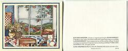 1 Autumn Folk Art Kitchen House Quilted Cat Farm Land Pastures Apples Note Card