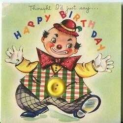 Vintage Circus Chubby Clown Bow Tie Plaid Vest Red Hat Buttons Bd Greeting Card