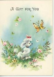 Vintage White French Poodle Dog Flowers Butterfly Miniature Greeting Card Print