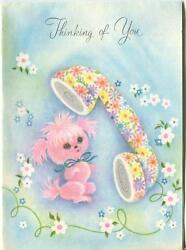 Vintage Pink Poodle Modern Retro Flower Telephone Greeting Card Lithograph Print